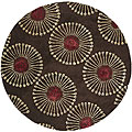 Handmade Soho Zen Coffee/ Brown New Zealand Wool Rug (6' Round)