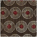 Handmade Soho Zen Coffee/ Brown New Zealand Wool Rug (6' Square)