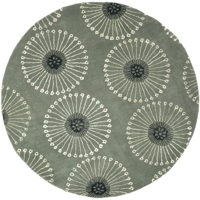 Safavieh Handmade Soho Zen Grey/ Ivory New Zealand Wool Rug (6' Round)