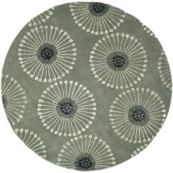 Handmade Soho Zen Grey/ Ivory New Zealand Wool Rug (6' Round)