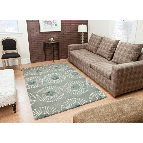 Safavieh Handmade Soho Zen Grey/ Ivory New Zealand Wool Rug (7'6 x 9'6)