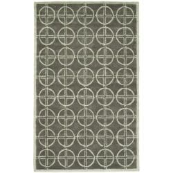 Handmade Soho Eternal Deco Grey/ Green N. Z. Wool Rug (7'6 x 9'6)