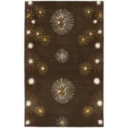 Handmade Soho Voyage Brown/ Multi N. Z. Wool Rug (3'6 x 5'6')