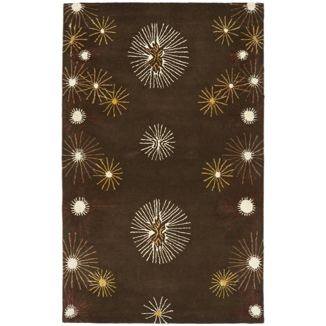 Safavieh Handmade Soho Voyage Brown/ Multi N. Z. Wool Rug (7'6 x 9'6)