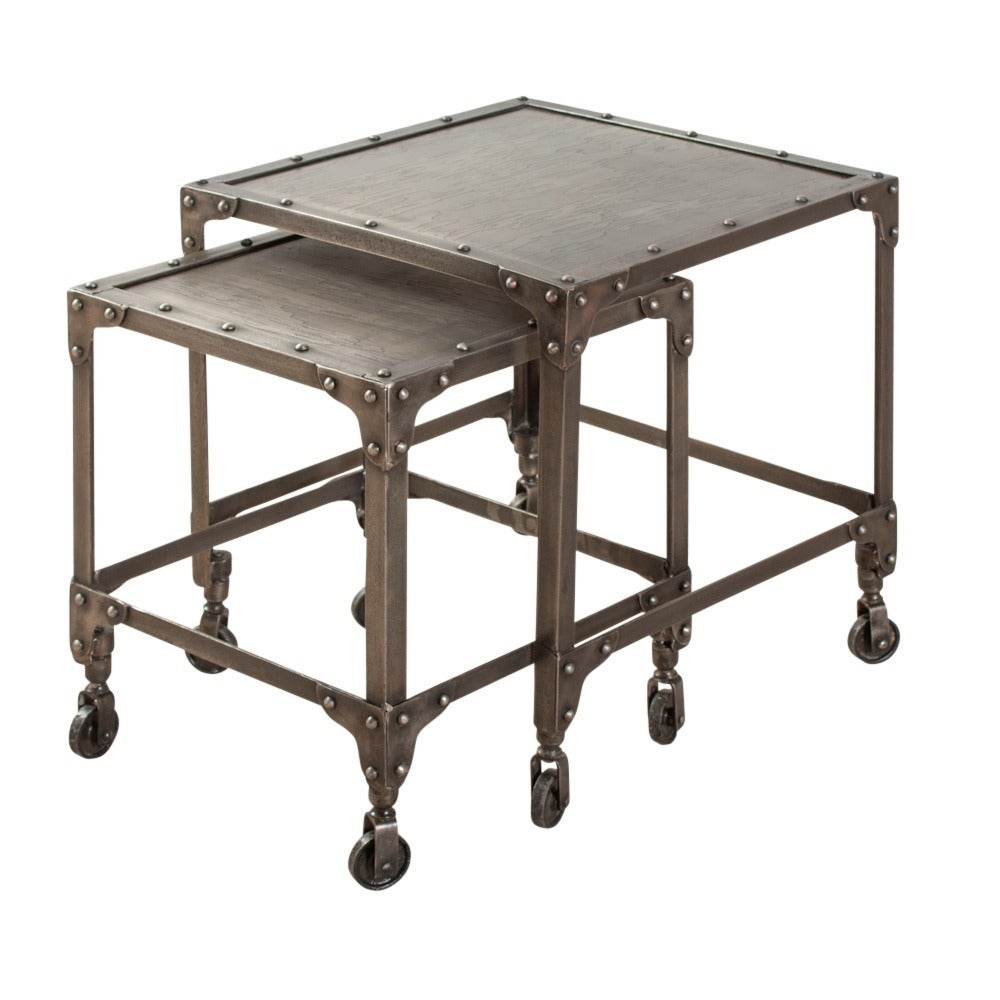 Industrial steel nesting side tables india overstock for Top rated coffee tables