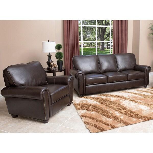 Abbyson Living London Premium Top Grain Leather Sofa And Armchair 13118846