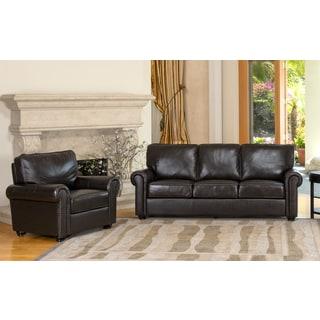 Abbyson Living London Premium Top-grain Leather Sofa and Armchair