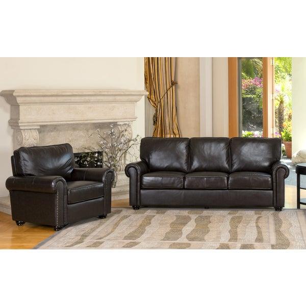 Abbyson Living London Premium Top Grain Leather Sofa And Armchair