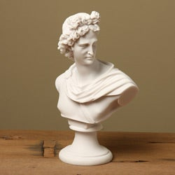 White Bonded Marble Apollo Belvedere Classical Bust