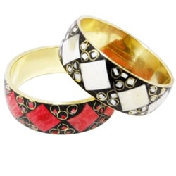 The Amishi 'Pure' Brass, Bone, Enamel Bangle (India)