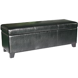 Black Bicast Leather Storage Ottoman Bench