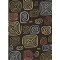 Hand-tufted Chalice Brown Geometric Polyester Rug (3'6 x 5'6)