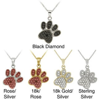 DB Designs Sterling Silver Black Diamond Accent Paw Print Necklace