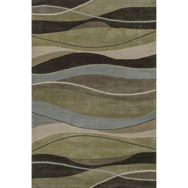 Hand-tufted Chalice Olive/ Brown Rug (3'6 x 5'6)