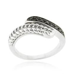 DB Designs Sterling Silver 1/10ct TDW Black Diamond Wave Ring