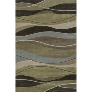 Hand-tufted Chalice Brown Geometric Rug (5' x 7'6)