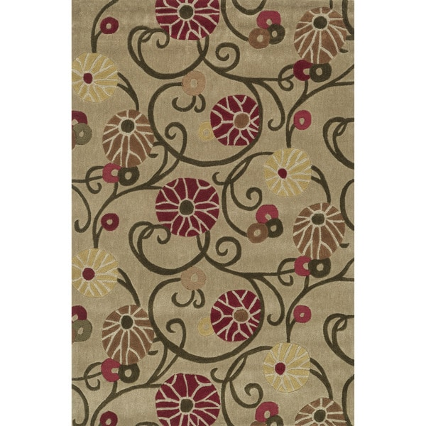 Hand-tufted Chalice Beige/ Multi Floral Rug (3'6 x 5'6)