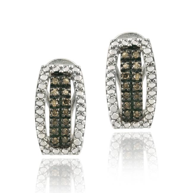DB Designs Sterling Silver 1/3ct TDW Brown Diamond Earrings