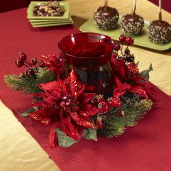 Poinsettia and Berry Candelabrum Silk Plant