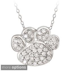 Icz Stonez Sterling Silver Cubic Zirconia Paw Print Necklace