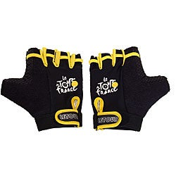 Black Tour De France Half-finger GEL Gloves with Velcro-closure