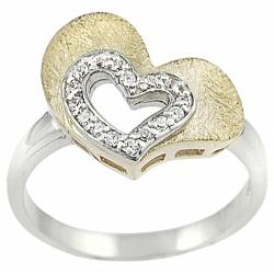 Tressa Sterling Silver Vermeil Cubic Zirconia Double Heart Ring