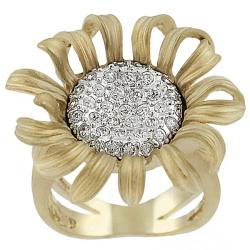 Journee Collection Sterling Silver Vermeil Cubic Zirconia Sunflower Ring