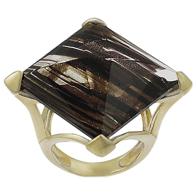 Journee Collection Sterling Silver Vermeil Created Brown Rutilite Ring