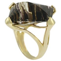 Tressa Sterling Silver Vermeil Created Brown Rutilite Ring
