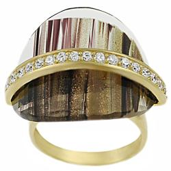 Tressa Sterling Silver Vermeil Created Brown Rutilite and Cubic Zirconia Ring