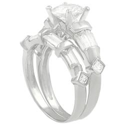 Journee Collection Sterling Silver CZ Bridal & Engagement Ring Set