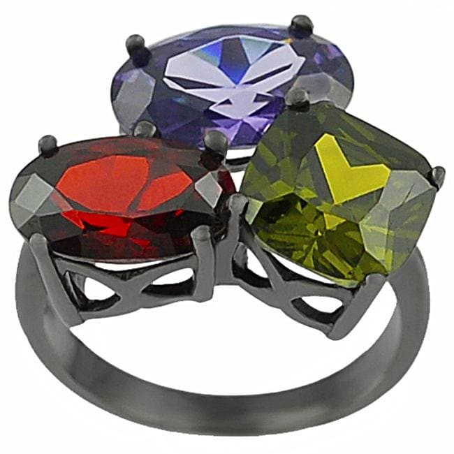 Journee Collection Sterling Silver Multi-colored CZ Ring