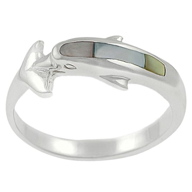 Journee Collection Sterling Silver Mother of Pearl Dolphin Ring