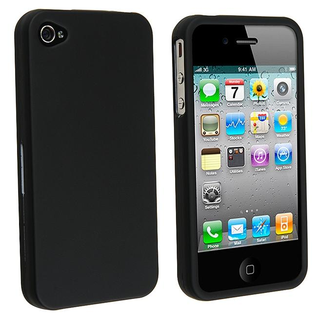 INSTEN Black Rubber Coated Phone Case Cover for Apple iPhone 4G
