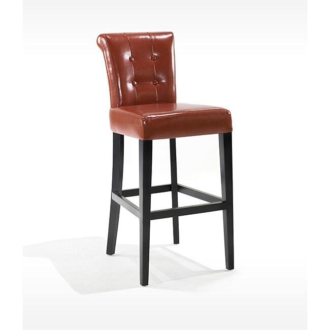 Tufted Burnt Orange Bicast Leather Barstool 13123592