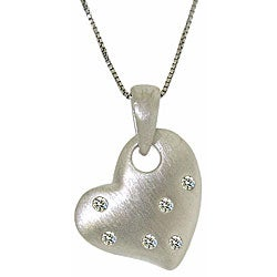 Sterling Silver Crystal Brushed Heart Necklace
