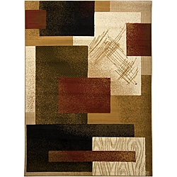 "Mandara Contemporary Beige Geometric Olefin Rug (7'10"" x 10'6"")"