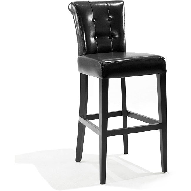 Tufted Back Black Bicast Leather Barstool 13123867