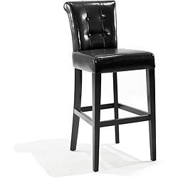 Tufted-back Black Bicast Leather Barstool