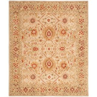 Handmade Mahal Ivory Wool Area Rug (6' x 9')