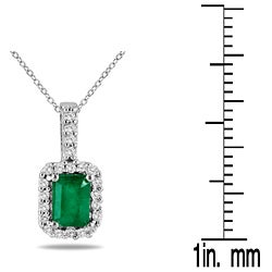 10k Gold and Silver Emerald and 1/10ct TDW Diamond Necklace (H-I, I1-I2)