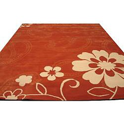 Hand-tufted Orange Oriental Wool Rug