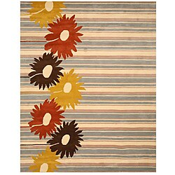 Hand-tufted 'Belinda' Blue Stripe Wool Rug (7'9 x 9'9)