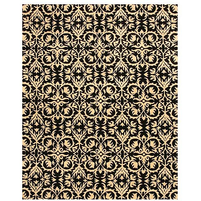Hand-tufted 'Marla' Black Wool Rug (5' x 8')