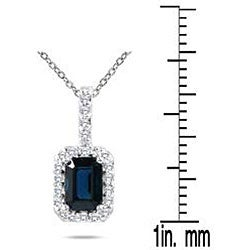 Marquee Jewels 10k White Gold Sapphire and 1/10ct TDW Diamond Necklace (H-I, I1-I2)