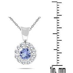 10k White Gold Tanzanite and 1/4ct TDW Diamond Necklace (I-J, I2-I3)