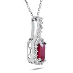 10k White Gold Ruby and Diamond Accent Pendant