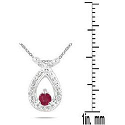 10k White Gold Ruby and Diamond Accent Necklace