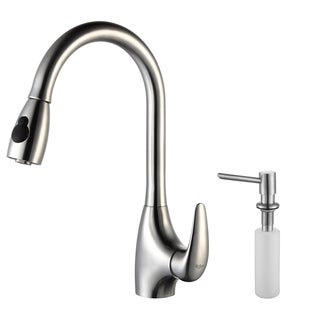 Kraus Single Lever Steel Pull Out Faucet withDispenser