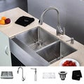 Kraus Single-Handle Stainless-Steel Farmhouse Kitchen Sink/Faucet/Soap Dispenser
